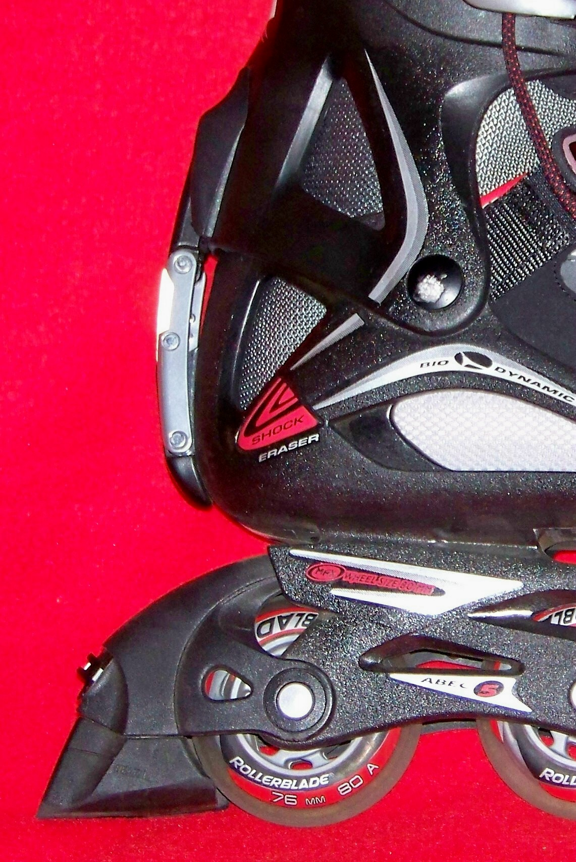 Closeup of Rollerblade patented ABT Lite brake system