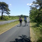 Two skaters on Milestone Road's newly paved bikepath