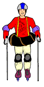 Skater with full padding, including ski poles and innert tube around waist