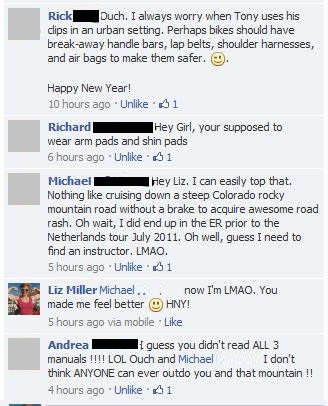 Screen capture of facebook comments