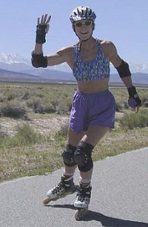 Liz Miller skating in Owens Valley